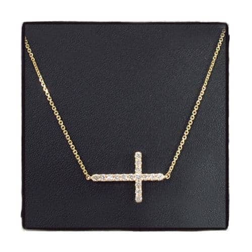 14K Gold Prong Diamond Cross Necklace 32223 Diamond