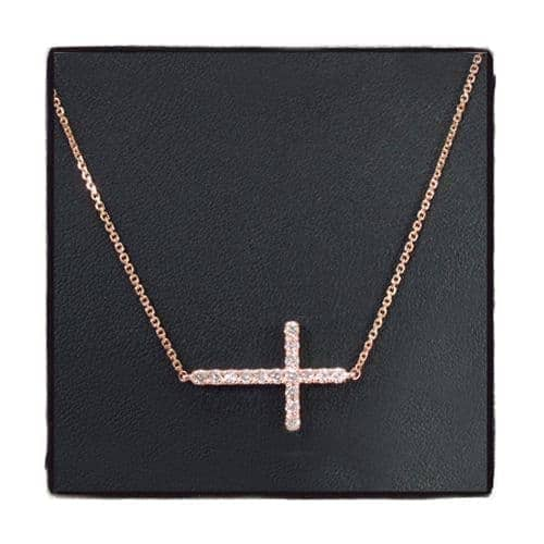 14K Gold Prong Diamond Cross Necklace 32224 Diamond