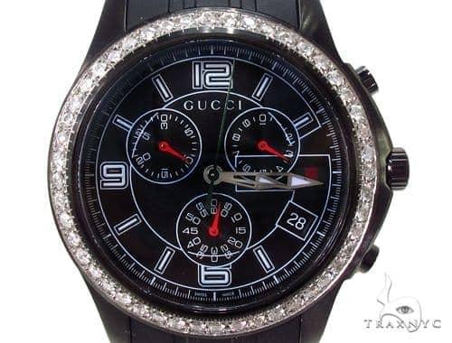 Mens Gucci Black Timeless Chrono Diamond Watch Gucci