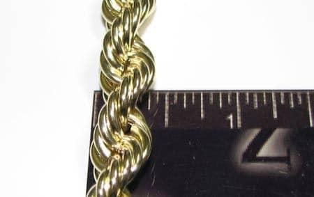 Gold Rope Chain 30 Inches 5mm 12.20 Grams Gold