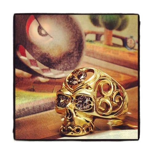 Diamond Skull Ring 35393 Stone