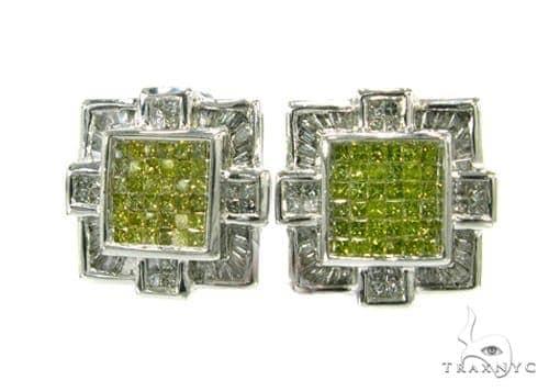 Canary Baguette Cross Earrings Stone