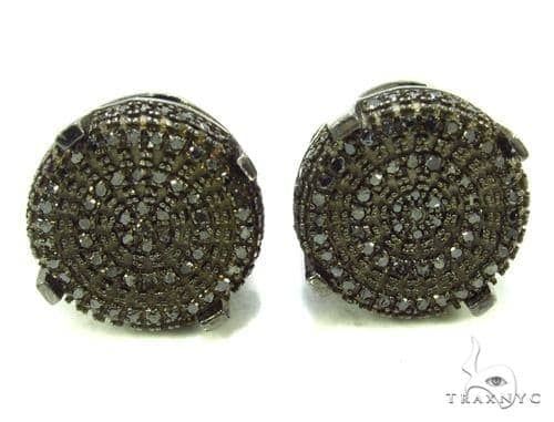 Prong Black Diamond Earrings 36323 Metal