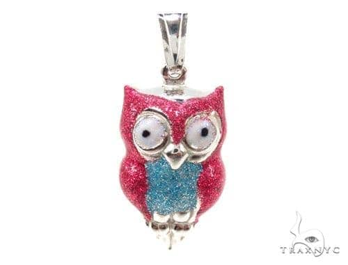 Owls Silver Pendant 36347 Metal