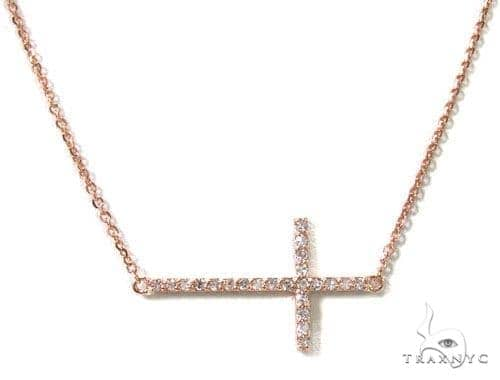 14K Gold Prong Diamond Cross Necklace 36639 Diamond