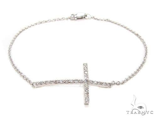 14K Gold Prong Diamond Cross Bracelet 36640 Diamond