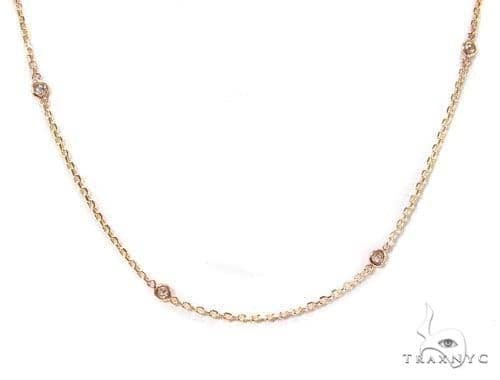 Rose Gold Yard Bezel Diamond Necklace Diamond