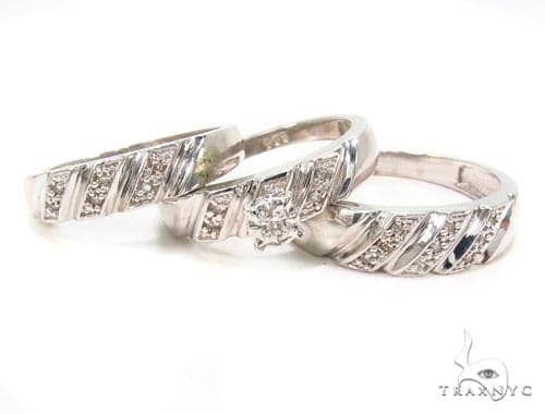 Prong Diamond Silver Ring Set 36834 Anniversary/Fashion