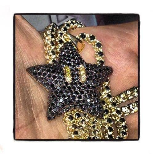 Super Mario Bros Star Black Color Diamond Pendant Metal