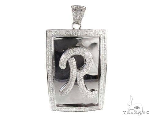 Iced R Dog Tag Metal