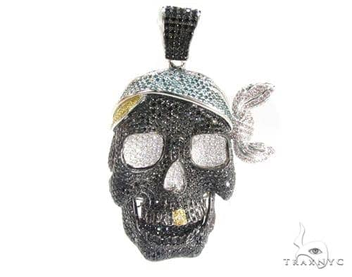Pirate skull pendant mens diamond pendant white gold 14k round cut pirate skull pendant mozeypictures Images
