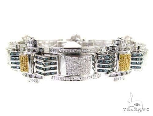 Hip Hop Jewelry - Pave & Channel Colored Joker Bracelet Diamond