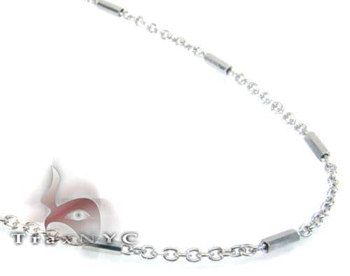 White Gold Beaded Hammer Chain 2 14K 20in Gold