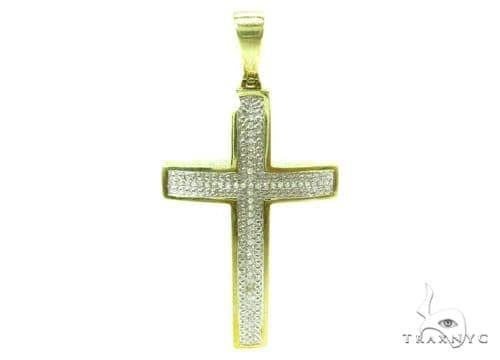 Prong Diamond Silver Cross 37181 Silver