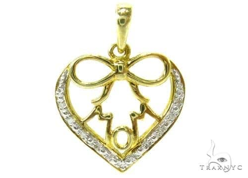 Prong Diamond Silver Heart Pendant 37207 Metal