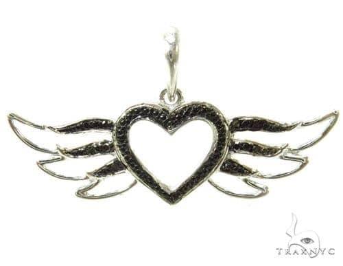 Prong Black Diamond Heart Silver Pendant 37211 Metal
