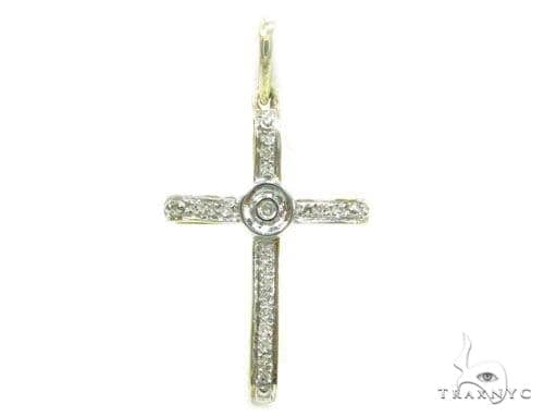 Prong Diamond Silver Cross 37218 Silver