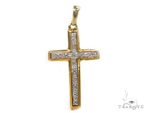 Prong Diamond Silver Cross 37225 Silver