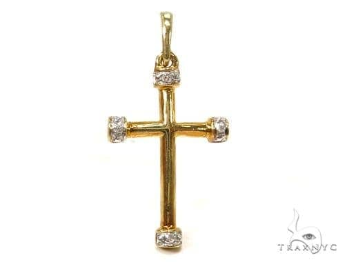 Prong Diamond Silver Cross 37228 Silver