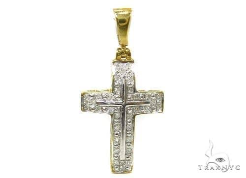 Prong Diamond Silver Cross 37237 Silver