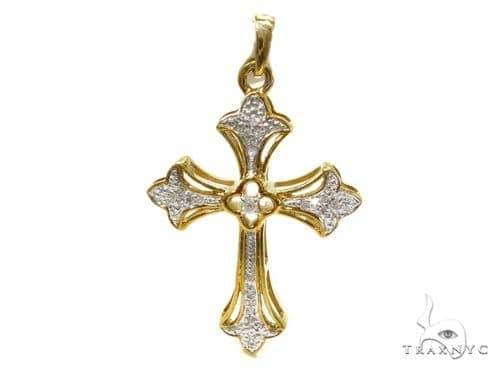 Prong Diamond Silver Cross 37247 Silver