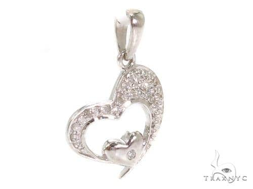 Prong Diamond Heart Silver Pendant 37353 Style