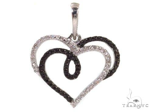 Prong Diamond Heart Silver Pendant 37360 Metal
