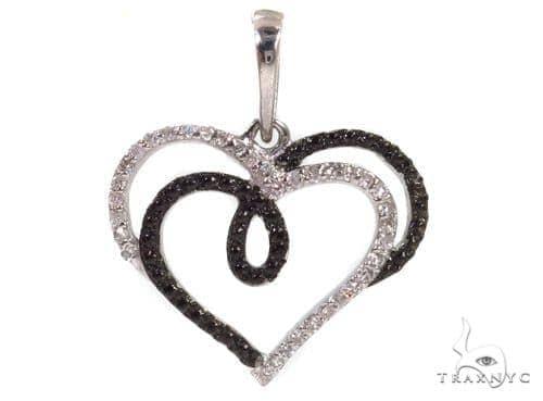 Prong Diamond Heart Silver Pendant 37360 Metal