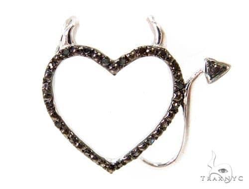 Prong Diamond Heart Silver Pendant 37363 Metal