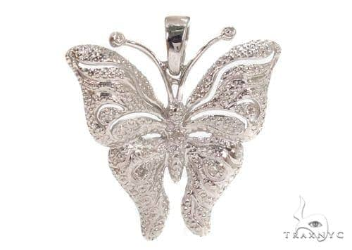 Prong Diamond Butterfly Silver Pendant 37415 Metal