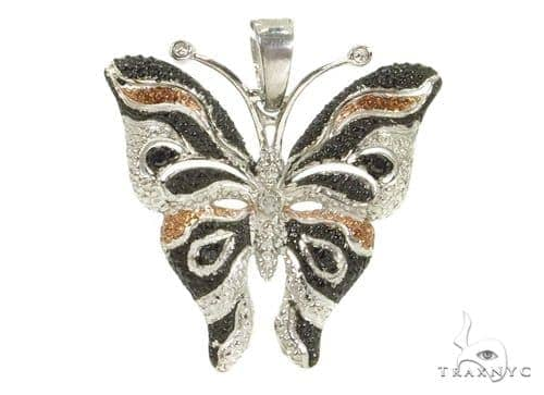 Prong Diamond Butterfly Silver Pendant 37416 Metal