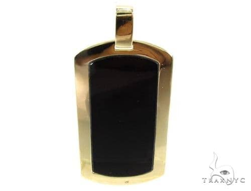 Medium Yellow Gold Onyx Dog Tag Style