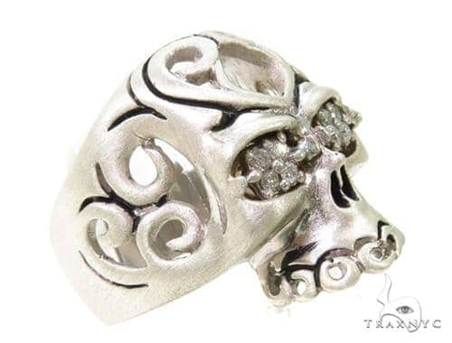 Prong Diamond Skull Silver Ring 37597 Stone