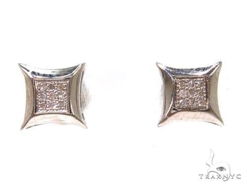 Prong Diamond Silver Earrings 37688 Metal