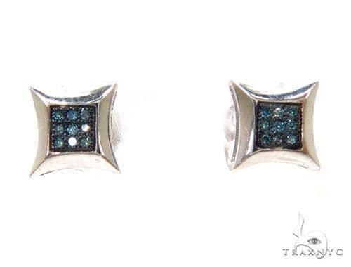Prong Diamond Silver Earrings 37689 Metal
