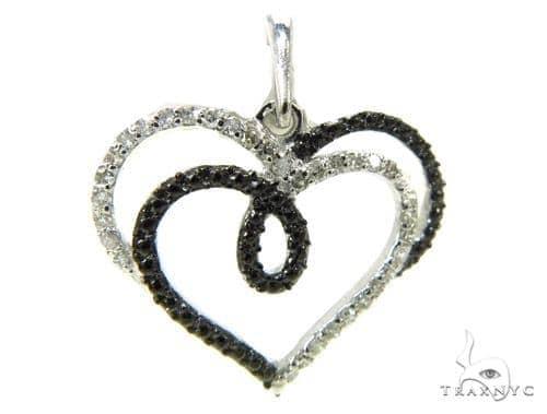 Prong Diamond Heart Silver Pendant 37846 Metal