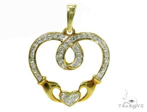 Prong Diamond Heart Silver Pendant 37863 Metal