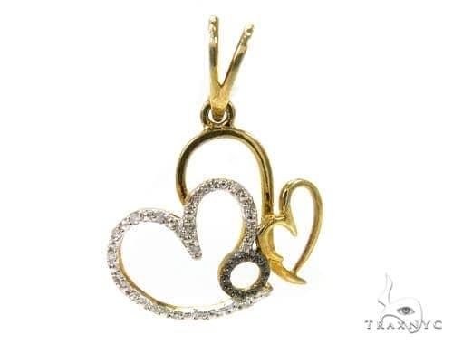 Prong Diamond Heart Silver Pendant 37865 Metal