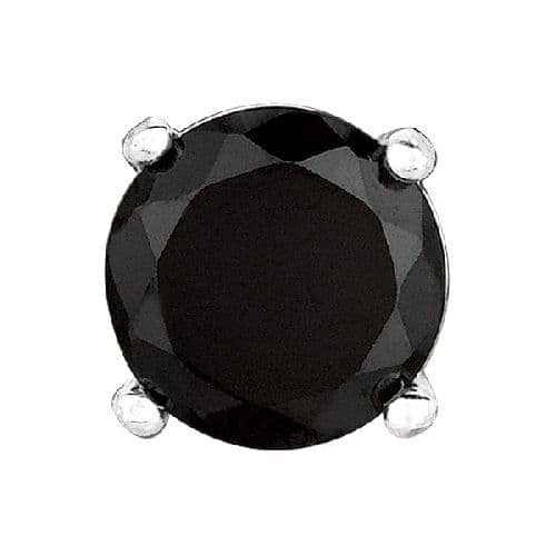 Silver Black Cubic Zirconia Stud Post back Earring Metal