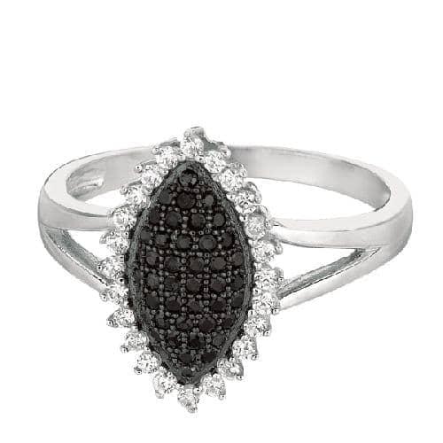 Silver Rhodium Finish Shiny Fancy Marquise Shape Top Size 8 Ring Anniversary/Fashion