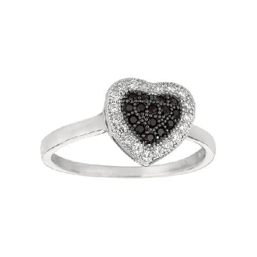 Silver Rhodium Finish Shiny Heart Shape Top Size 7 Ring Anniversary/Fashion