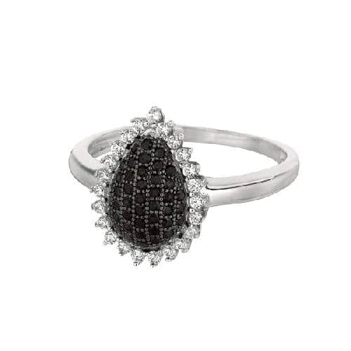 Silver Rhodium Finish Shiny Teardrop Shape Top Size 8 Ring Anniversary/Fashion