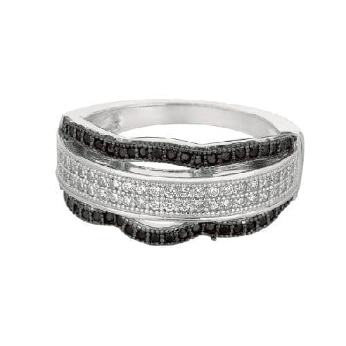 Silver Rhodium Finish Shiny Fancy Wavey Band Type Size 7 Ring Anniversary/Fashion