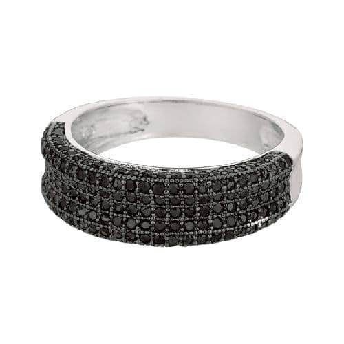 Silver Rhodium Finish Shiny Fancy Concave Band Type Size 8 Ring Anniversary/Fashion