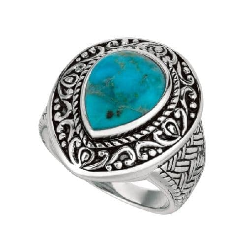 Silver Oxidized Tear Drop Reconstituted Turquoise Size 7 Ring Anniversary/Fashion