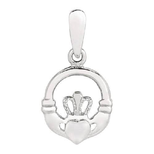 Silver Rhodium Finish Shiny Small Claddagh Charm Pendant Metal