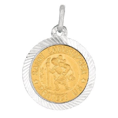 Silver Shiny Textured Nickle Size Saint Christopher Pendant Metal