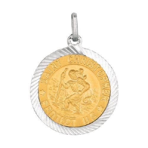 Silver Textured Quarter Size Saint Christopher Pendant Metal
