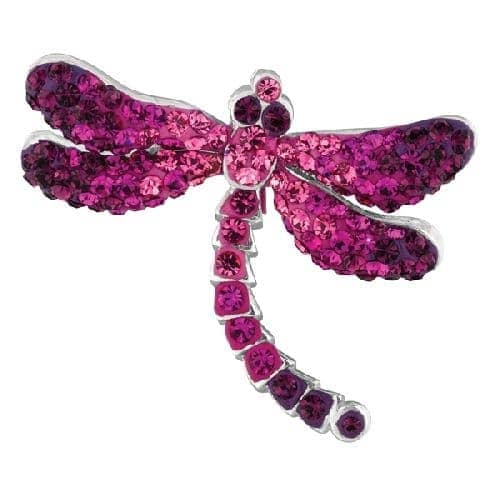 Silver Dragonfly Pendant with Ruby Crystal Metal