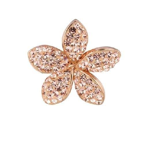 Rose Finish Shiny 5-Leaf Flower Pendant with Rose Crystal Metal